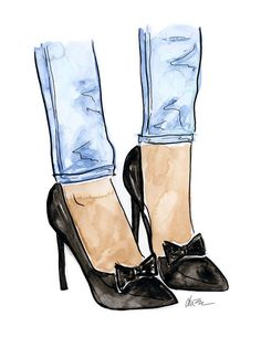 Bow Pumps - Watercolor Fashion Illustration Print by Kara Endres