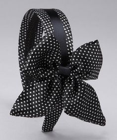 Take a look at this Black & White Polka Dot Bow Headband by SBNY Petite on #zulily today!
