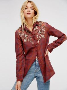 New Free People Stevie's Embellished Plaid Button Down Shirt Opal Blue Combo S #FreePeople #ButtonDownShirt #Versatile