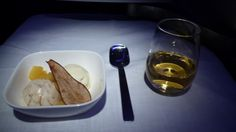 Dessert, Air New Zealand Business Premier, NZ1, LHR-LAX, Boeing 777-300ER, Vanilla bean and maple walnut ice cream with cinnamon pear compote and pear crisp, and dessert wine. 11/12/2012