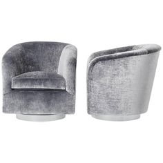 Milo Baughman, Pair of Grey Velvet Swivel Chairs, USA, circa 1970s