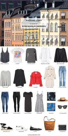 What to Pack for Stockholm Sweden Packing Light List This week I have request for what to pack for Stockholm, Sweden for 14 days at the end of July/beginning of August. Can I mention how disappointed Capsule Wardrobe, Capsule Outfits, Travel Wardrobe, Cardigan Blazer, Sweden Fashion, Mein Style, Packing Light, Light Jacket, Dark Denim