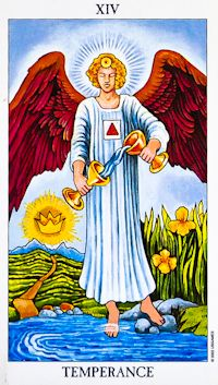 Temperance (14) - Upright: Balance, moderation, patience, purpose, meaning.  Reversed: Imbalance, excess, lack of long-term vision.