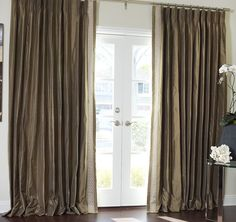 Greek Key Contemporary Custom Drapery in French Pleat Window Coverings, Window Treatments, Home Curtains, Custom Drapes, Window Dressings, House Windows, Home Projects, Sweet Home, New Homes