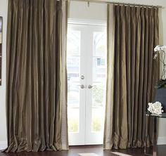 Greek Key Contemporary Custom Drapery in French Pleat Custom Drapes, Curtains Living Room, Home, Living Dining Room, Curtains, Interior, House, Home Curtains, Drapestyle