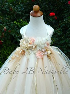 Deluxe Floral Champagne and Ivory Flower Girl Dress All Sizes  Baby to Girls size 10
