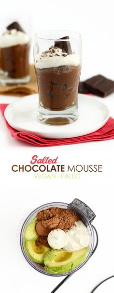 This Paleo Salted Dark Chocolate Mousse is made with an avocado and coconut base sweetened with maple syrup and topped off with Himalayan Sea Salt! Use all of the cream from a can of coconut milk and about 6 tablespoons of maple syrup Paleo Dessert, Healthy Sweets, Vegan Desserts, Delicious Desserts, Healthy Snacks, Dessert Recipes, Yummy Food, Frozen Desserts, Dark Chocolate Mousse