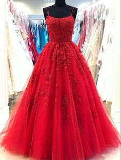 Red formal dress for party A Line Prom Dresses, Tulle Prom Dress, Cheap Prom Dresses, Prom Party Dresses, Tulle Lace, Dress Lace, Graduation Dresses, Prom Dress Long, Sexy Dresses