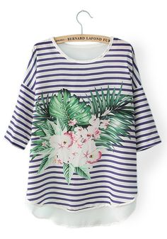 Multicolor Striped Floral Print Round Neck Chiffon Blouse