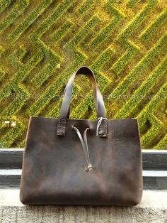 Carryall Tote Everyday Bag Rugged Handmade Leather Top Grab Handles Roomy Interior Handmade Leather Shoulder Tote