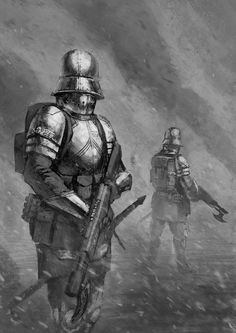 Presumably, Imperial Guard troops from a feudal world. I like the axe bayonet on the lasgun.