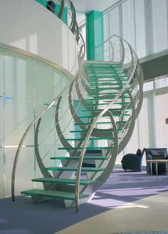 circular staircase with a lateral stringer (metal frame and glass steps) FLEET PLACE SS 372 SPIRAL Stairs Glass Stairs Design, Staircase Design, Stair Design, Staircase Handrail, Spiral Staircase, Staircase Glass, Stainless Steel Staircase, Online Architecture, Escalier Design