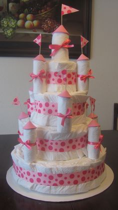 Princess castle diaper cake! Could modify for a Hogwarts Castle theme as well