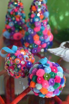 DIY pom pom sequin ornaments and Christmas trees... crazy easy. www.ciburbanity.com