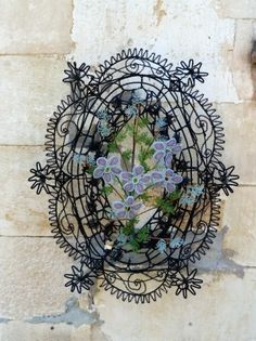 Immortelle Wreath  of beaded wire  French  Antique