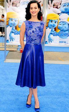 "Katy Perry in Tadashi Shoji (2013 L.A. premiere of ""The Smurfs 2"")"