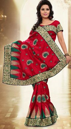 $84.61 Red Manipuri Silk Resham Work Saree 26099