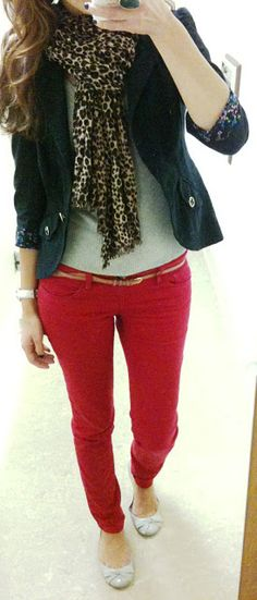 red pants, white tee, black blazer and animal print scarf
