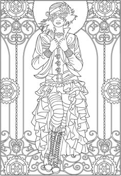 "Adult Coloring Pages; ""Creative Haven Steampunk Fashions Coloring Book"". Dover Publications offers 5 free examples to download and give it a try! Beautiful Steampunk Coloring Pages.....we ladies love them!  For sale at the great publisher Dover Publications."