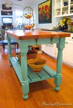Untitled Kitchen Island Storage, Kitchen Island Table, Farmhouse Kitchen Island, Modern Kitchen Island, Small Space Kitchen, New Kitchen, Kitchen Decor, Kitchen Islands, Small Spaces
