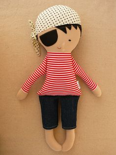 Reserved for Lauren - Fabric Doll Rag Doll Black Haired Pirate Doll in Red and White Striped Shirt