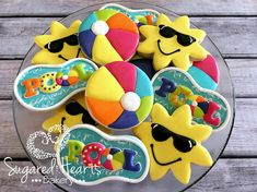 ****PLEASE SEE SHOP ANNOUNCEMENT BEFORE PURCHASING A LISTING OR ORDERING.****  This listing is for 1 dozen (12) Pool Party Sun Beach Ball Cookies. These adorable cookies are perfect for your pool party or to celebrate the end of the school year. Order includes the following: (4) Sun Cookies (Approx 3) (4) Beach Balls (3) (4) Pools (Approx 3)  You may choose either my delicious almond sugar cookie with almond royal icing or my buttery vanilla cookie with vanilla royal icing. *Minimum 1 dozen…