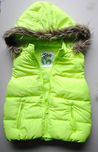 Starting Bid $20.50 - Justice Girls Size 8 Neon Green Bubble Vest w Hood New wTags Free Shipping