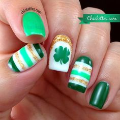 My Irish roots like these!  Chickettes.com St. Patrick's Day Nail Art 2014 Ha Ha!