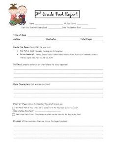 Second Grade Book Report Template   Book Report Form Grades