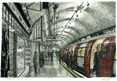 Stephen Wiltshire's work-view of trains, like a photograph