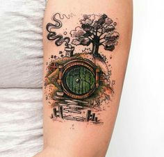 """In a hole in the ground lived a hobbit ."" For lovers of the Hobbit and The Lord . - ""In a hole in the ground lived a hobbit …"" For lovers of the Hobbit and The Lord of the Rings, th - Tolkien Tattoo, Tatouage Tolkien, Hobbit Tattoo, Lotr Tattoo, Fake Tattoo, Ring Tattoos, Body Art Tattoos, Tatoos, Space Tattoos"
