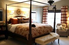 ●A Touch of Romance - While frilly and pink and are out, warmth and sophistication are in when it comes to putting a romantic spin on your bedroom. The four-poster bed and floral-patterned quilt give this room over at Thrifty Decor Chick a big dose of charm, with a subtle side of romance.