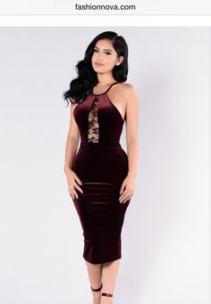 Available In Black and Burgundy Velvet Dress Lace Detail Front Sleeveless  Spaghetti Straps Midi Length Made in USA Polyester Spandex 834a83589f9b