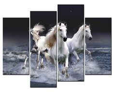 SmartWallArt - Animal Paintings Wall Art three White Horses Running in River in the Dark 4 Panel Picture Print on Canvas for Modern Home Decoration *** Insider's special review you can't miss. Read more  (This is an amazon affiliate link. I may earn commission from it)