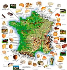 Mapa de los quesos de Francia