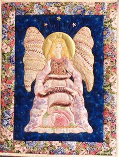 "Guardian of Light, 12 x 17"", angel quilt pattern by Cynthia Taylor Clark at Threads of Light"