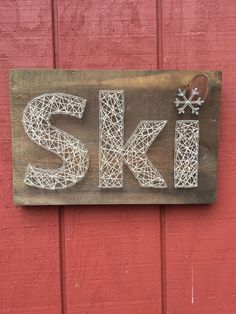 Ski String Art Nail Art Rustic Wooden Sign von CrookedTreeTraders