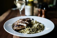Handmade Pesto Fettucini with Parmesean and Grilled Chicken drinking a random Sauvignon Blanc #cookery #cooking #food #recipes #kitchen #cookbook #baking #school #MargueritePatten #LLm