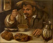 Annibale Caracci (Attr.) (1560-1609) - Il mangiatore di fagioli - 75,5x90,5 cm - Olio su tela