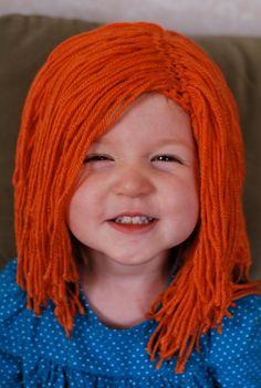 Items similar to Custom Yarn Hair Wig Hat on Etsy Crochet Kids Hats, Crochet Fall, Halloween Crochet, Crochet Girls, Halloween Kostüm, Knitted Hats, Knit Crochet, Crochet Hair Accessories, Crochet Hair Styles