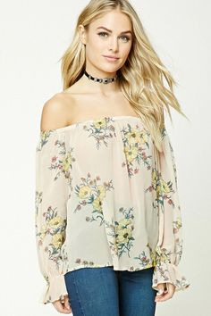 Forever 21 Contemporary - A semi-sheer woven top featuring an allover floral print, off-the-shoulder design, elasticized neckline, long ruffled sleeves, and a billowy silhouette.