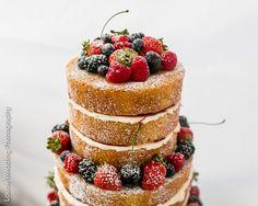 Outstanding naked weddding cake - Victoria sponge cake with fresh summer fruits   Louise Wedding Photography   professional wedding photographer London   #fruit #sponge #seasidewedding #englishwedding