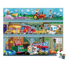 Janod Toys Vehicles Puzzle, 100 piece puzzle, Made of sturdy cardboard, Stores easily in a stylish hat box with handle, vehicle themed puzzle. Rainy Day Activities, Interactive Activities, 100 Piece Puzzles, Jigsaw Puzzles, Eco Friendly Toys, Let The Fun Begin, Community Helpers, Books For Boys, Ambulance