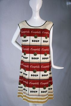 made of paper. Print of red, black and white Campbells Soup can labels, inspired by the art of Andy Warhol.