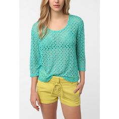 Urban Outfitters Staring at Stars Textured Top Staring at Stars brand from Urban Outfitters. Textured-cropped sleeve top. 65% Polyester, 35% Rayon. Color: Aqua Blue. Urban Outfitters Tops