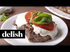 Caprese Steak - make with combo Ground Turkey, Hot Sausage Grilled Steak Recipes, Grilled Meat, Grilling Recipes, Beef Recipes, Grilling Ideas, Primal Recipes, Savoury Recipes, Healthy Recipes, Yummy Recipes