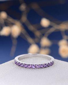 Etsy Amethyst Wedding Band Women White Gold February Birthstone Stacking Half Eternity Anniversary Promis