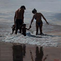 L'âge où l'eau est bonne - Nicolas Odinet Watercolor Portraits, Summer Art, Ocean Painting, Lovers Art, Fine Art Painting, Representational Art, Beach Art, Dream Painting, Nicolas