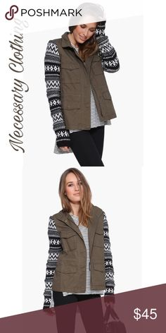 🍁🍂Armed and Fabulous Jacket🍁🍂 Olive Green Necessary Clothing Jacket wit patterned sleeves. Perfect for upcoming season🍁🍂 Necessary Clothing Jackets & Coats Utility Jackets