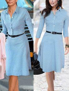 Синее рубашка-платье в горошек с поясом